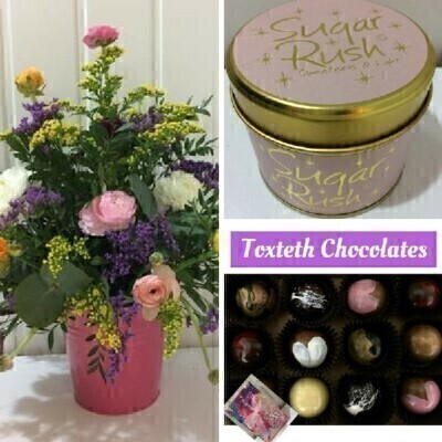 Ranunculus with Toxteth Chocolates and Sugar Rush Candle: Booker Flowers and Gifts