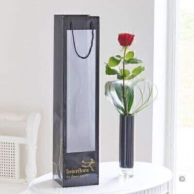 Red Rose in Vase and Gift Bag: Booker Flowers and Gifts