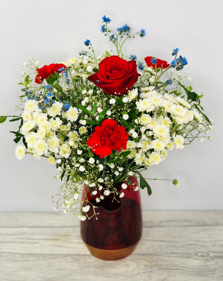 Pretty Flowers in a Vase Red White and Blue