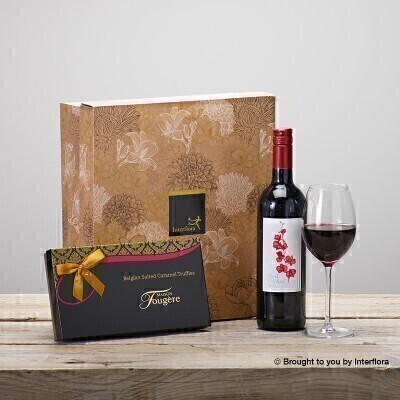 Red Wine and Salted Caramels Gift Set: Booker Flowers and Gifts