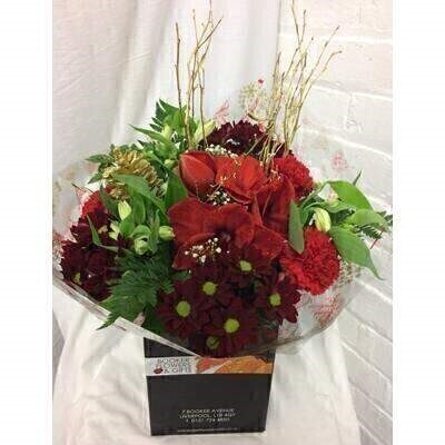 Red and White Christmas Bouquet: Booker Flowers and Gifts