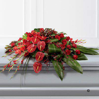 A very distinctive casket spray in shades of rich red including Rose - carnations - gladioli - anthuriums and orchids along with red hypericum - leucadendron and aspidistra leaves.