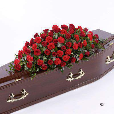 Rose and Carnation Casket Spray - Red Large: Booker Flowers and Gifts