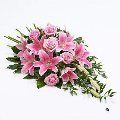 Classic Large Pink Rose and Pink Lily Spray | Funeral Flowers