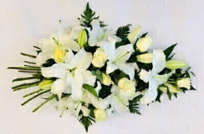 Extra-Large Classic White Rose and Lily Spray | Funeral Flowers