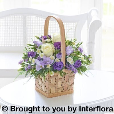 <h1>Purple and white Flowers - Flowers in a Basket</h1>
