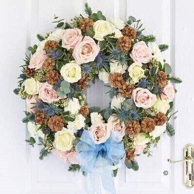 Seasonal Sophistication Rose Door Wreath: Booker Flowers and Gifts