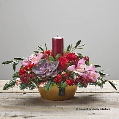 Snazzy Christmas Table Candle Arrangement: Booker Flowers and Gifts