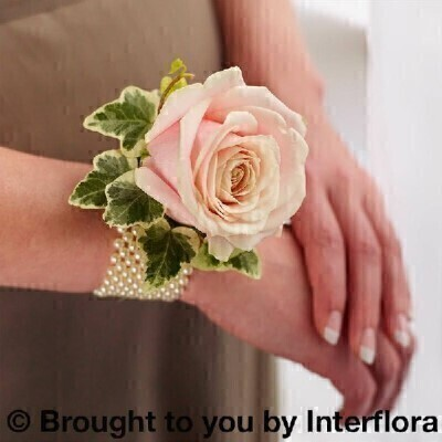 Soft Pink Rose and Pearl Wrist Corsage: Booker Flowers and Gifts