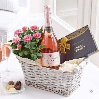 Sparkling Wine and Rose Plant - Gift Basket
