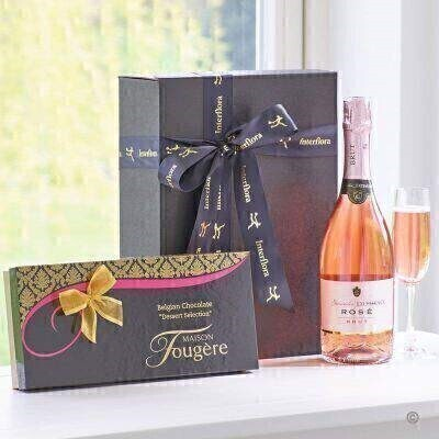 Sparkling Rose and Dessert Chocolates Gift Set: Booker Flowers and Gifts
