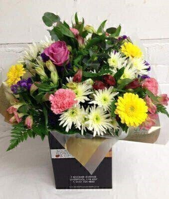 Spring Flowers with Alstromeria Hand Tied Bouquet - February: Booker Flowers and Gifts