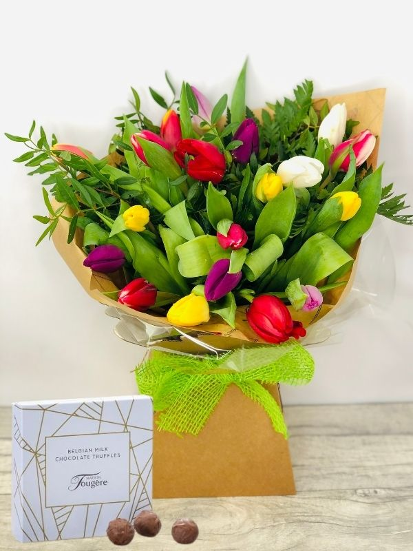 Beautiful Bright Spring Tulips together with Box of Luxury Belgian Truffles