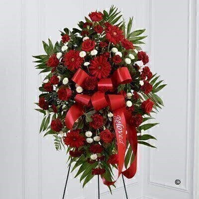 This beautiful standing spray is a rich and colourful way to express your love and devotion. A stunning arrangement in shades of red includes roses - carnations - spray carnations and gerbera with white spray chrysanthemums and lush greens. Accented by red