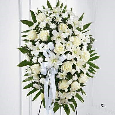 Standing Spray - White: Booker Flowers and Gifts