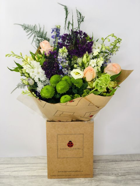 Summer Allium and Peach Rose Bouquet: Booker Flowers and Gifts