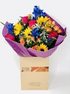 Summer Rainbow Hand-tied Bouquet Large: Booker Flowers and Gifts