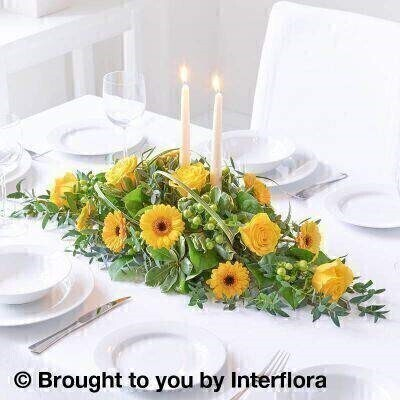 Sunshine Yellow Floral Candle Centrepiece: Booker Flowers and Gifts