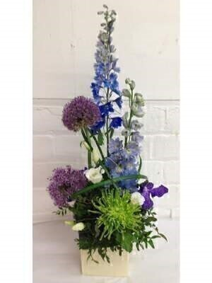 Tall Designer Flower Arrangement Purple and Green: Booker Flowers and Gifts
