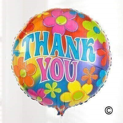 Sending this cheerful helium-filled balloon will definitely brighten someoneandrsquo;s day. This brightly coloured balloon features a andlsquo;Thank Youandrsquo; message and will be tied with ribbon to match and delivered with a balloon weight.