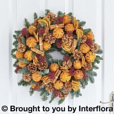 Traditional Christmas Clementine Door Wreath: Booker Flowers and Gifts