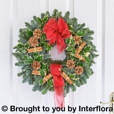 Traditional Christmas Door Wreath: Booker Flowers and Gifts