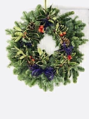 Traditional Christmas Holly Wreath - Blue: Booker Flowers and Gifts