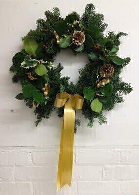 Traditional Christmas Holly Wreath - Gold: Booker Flowers and Gifts