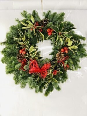 Traditional Christmas Holly Wreath - Red: Booker Flowers and Gifts