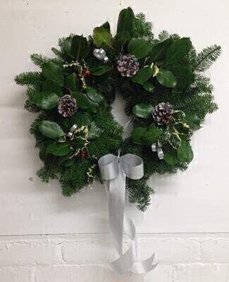 Traditional Christmas Holly Wreath - Silver: Booker Flowers and Gifts