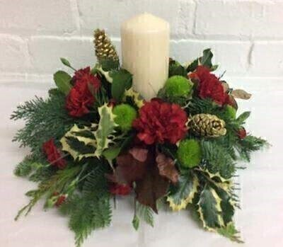 Traditional Christmas Table Centrepiece Candle: Booker Flowers and Gifts