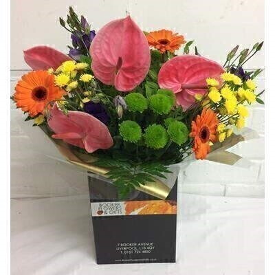 Tropical Anthurium Vibrant Hand Tied Bouquet: Booker Flowers and Gifts