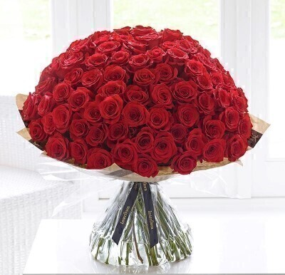 Ultimate Valentines 100 Red Rose Hand Tied: Booker Flowers and Gifts