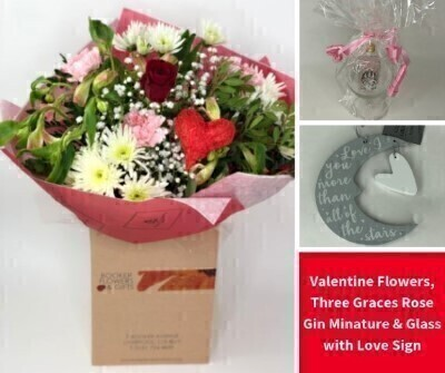 Valentine Hand Tied and Mini Rose Gin Gift Set: Booker Flowers and Gifts