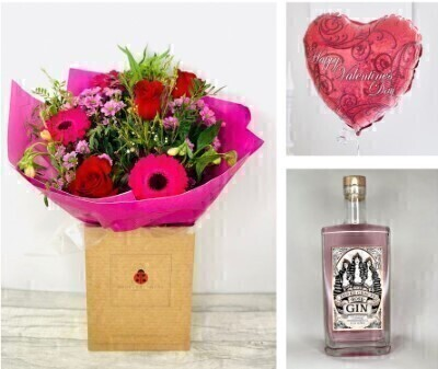 Valentine Hand Tied and Three Graces Rose Gin Gift Set: Booker Flowers and Gifts