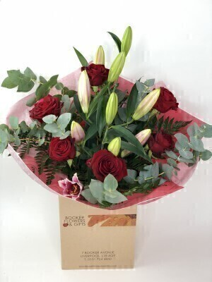 Valentine Naomi Red Rose and Pink Lily Hand tied Bouquet: Booker Flowers and Gifts