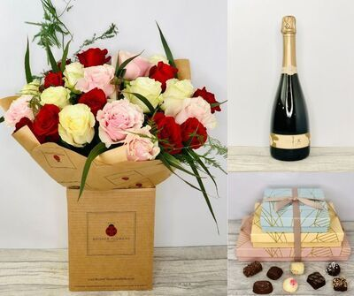Valentines Day 18 Red Roses Gift SetHand arranged by our florists and presented in a beautiful presentation bouquetTo give you the best occasionally we may make substitutesOur flowers backed by our 7 days freshness guaranteeApproximate dimensions 50cmx50cm This product is available for UK deliveryThis luxury bouquet of eighteen red roses together with a bottle of Gosset Champagne Happy Valentines Day balloon and 170g Salted Caramel Truffles is a popular choice for Valentines Day to let someone know you are thinking of them.The beautiful bouquet features 18 red large-headed freedom roses hand arranged with mixed foliage and presented in eco-friendly gift wrapping and presentation box. Plus all our bouquets and plants have a small wooden ladybird hidden in somewhere so dont forget to spot the ladybird on our social media pages!Liverpool Flower DeliveryWe offer advanced booking flower delivery same day flower delivery 3 hour Flower delivery guaranteed AM PM or Evening Flower Delivery and we are now offering Sunday Flower Delivery.The best florist in LiverpoolCome to Booker Flowers and Gifts Liverpool for your Beautiful Flowers and Plants if you really want to spoil we also have a great range of Local Gin Wines Champagne Balloons Vases and Chocolates that can be delivered with your flowers. To see the full range see our extras section. You can trust Booker Flowers and Gifts can deliver the very best for you.