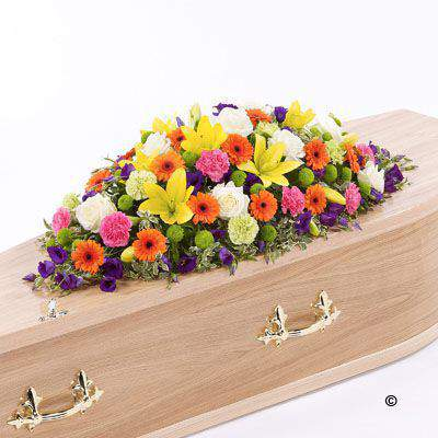 Vibrant Casket Spray Large: Booker Flowers and Gifts