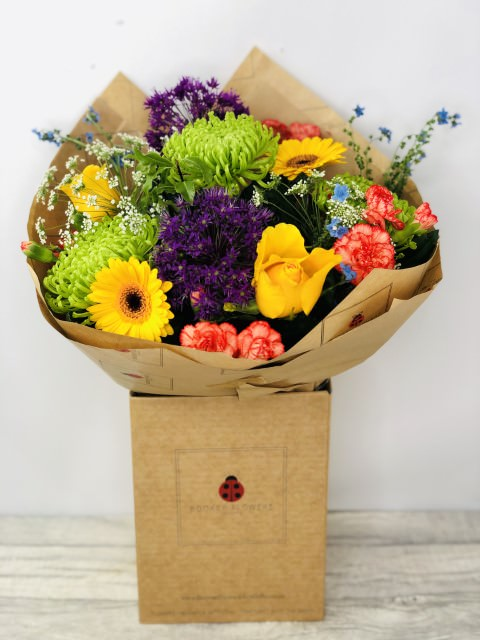 Vibrant Summer Handtied Bouquet: Booker Flowers and Gifts