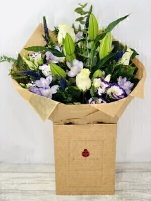 Purple and White Bouquet of Flowers
