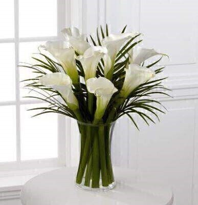 Simple and sophisticated - these exquisite full-sized white calla lilies are accented by lush palm leaves and arranged in a sleek clear glass vase to create a wonderful - heartfelt gesture.