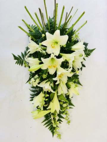Classic white Longiflorum Lily are beautifully complemented by white September flower and choice foliages to create this elegant large spray.