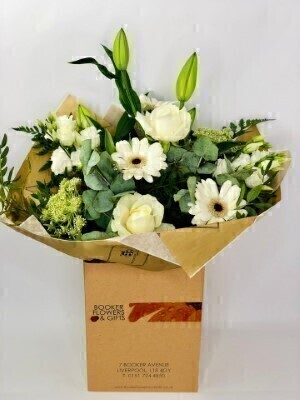 White Radiance Hand Tied: Booker Flowers and Gifts