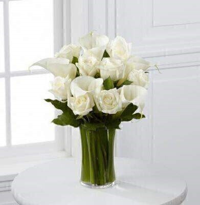White Rose and Calla Lily Vase: Booker Flowers and Gifts