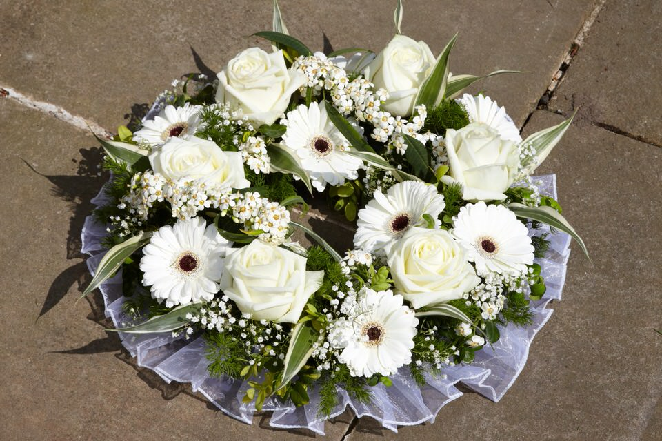 Red Rose and Green Orchid Wreath | Funeral Flowers