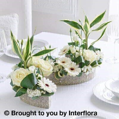 White Rose and Germini Curved Floral Centrepiece: Booker Flowers and Gifts