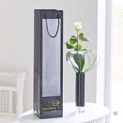 White Rose in Vase and Gift Bag: Booker Flowers and Gifts