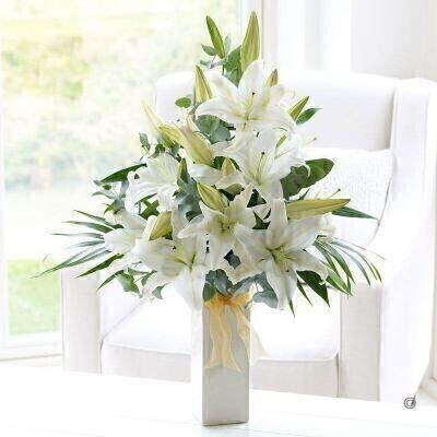 White Scented Lily Vase - PLUS: Booker Flowers and Gifts