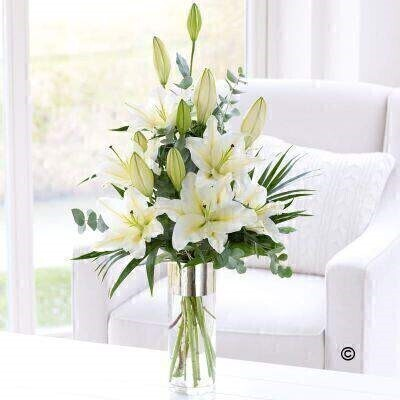 White Scented Lily Vase: Booker Flowers and Gifts