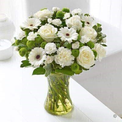 White Sympathy Vase - PLUS: Booker Flowers and Gifts